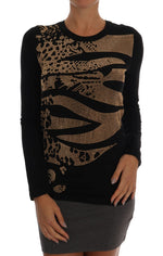 Black Gold Studded Stretch Pullover Sweater - Women - Apparel - Sweaters - Pull Over - Versace Jeans | Gethuda Fashion