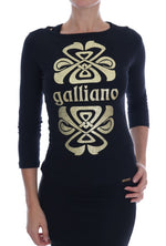 Galliano Black 3/4 Sleeve Cotton Stretch Top - Women - Apparel - Shirts - Blouses - Gethuda Fashion | Gethuda Fashion