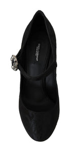 Dolce & Gabbana Black Brocade Crystal Mary Janes Shoes - Women - Shoes - Pumps - Dolce & Gabbana | Gethuda Fashion