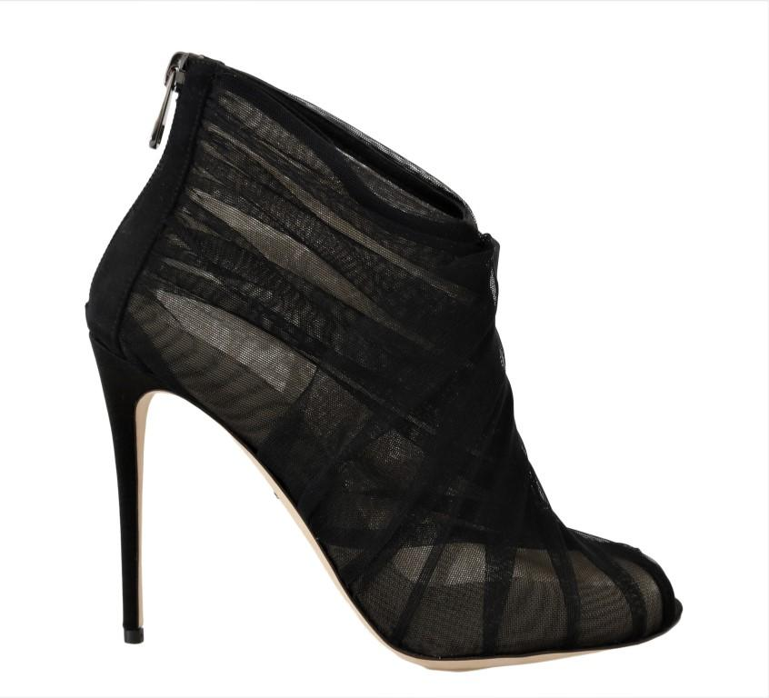 Dolce & Gabbana Black Peep Toes Stilettos Booties - Women - Shoes - Pumps - Dolce & Gabbana | Gethuda Fashion