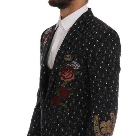 Dolce & Gabbana Black Crystal Roses MARTINI 3 Piece Suit - Men - Apparel - Shirts - Dress Shirts - Dolce & Gabbana | Gethuda Fashion