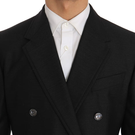 Dolce & Gabbana Gray Wool Silk Double Breasted Slim Fit Suit