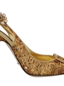 Dolce & Gabbana Gold Sequined Leather Slingbacks Shoes