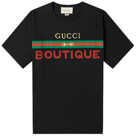 Gucci Unisex Boutique print Black T-shirt - Men - Apparel - Shirts - T Shirts - Gucci | Gethuda Fashion