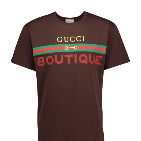 Gucci Unisex Boutique print Brown T-shirt - Men - Apparel - Shirts - T Shirts - Gucci | Gethuda Fashion