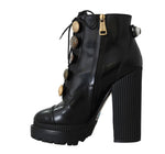 Dolce & Gabbana Black Leather DG Logo Ankle Boots -  - Dolce & Gabbana | Gethuda Fashion