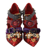 Dolce & Gabbana Red Sequined Crystal Studs Heels Shoes