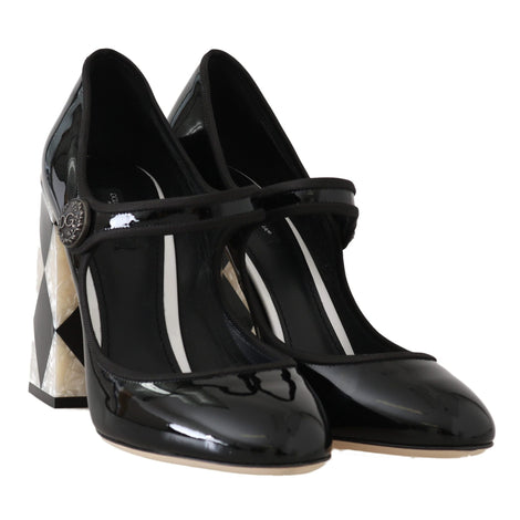 Black Leather Square Heels Pumps - Women - Shoes - Pumps - Dolce & Gabbana | Gethuda Fashion