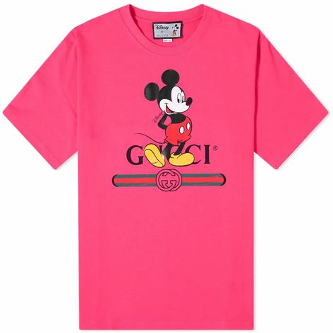 Disney x Gucci oversized Mickey Mouse Pink T-shirt - Men - Apparel - Shirts - T Shirts - Gucci | Gethuda Fashion