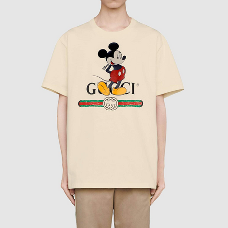 Disney x Gucci oversized Mickey Mouse Off White T-shirt - Men - Apparel - Shirts - T Shirts - Gucci | Gethuda Fashion