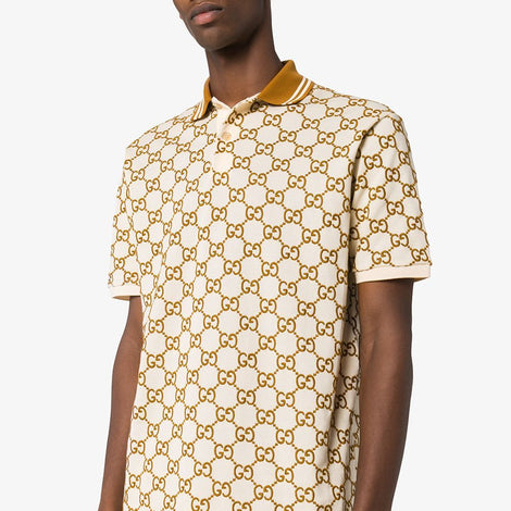 Gucci GG Embroidered Off White Polo T-Shirt - Men - Apparel - Shirts - Polos - Gucci | Gethuda Fashion