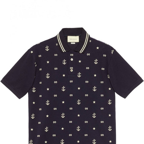 Gucci GG Anchor motif Embroidered Dark Blue Polo T-Shirt - Men - Apparel - Shirts - Polos - Gucci | Gethuda Fashion
