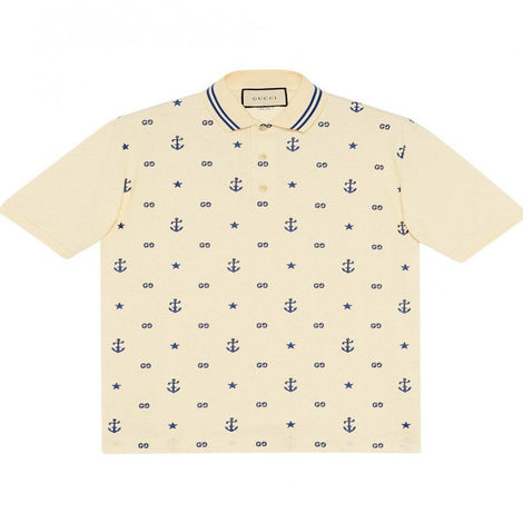 Gucci GG Anchor motif Embroidered Off White Polo T-Shirt - Men - Apparel - Shirts - Polos - Gucci | Gethuda Fashion
