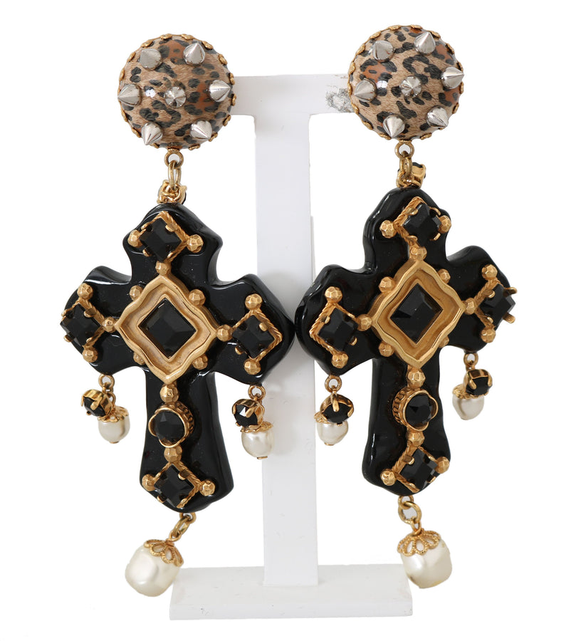 Dolce & Gabbana Gold Crystal SICILY Clip On Dangling Cross Earrings - Women - Jewelry - Earrings - Dolce & Gabbana | Gethuda Fashion