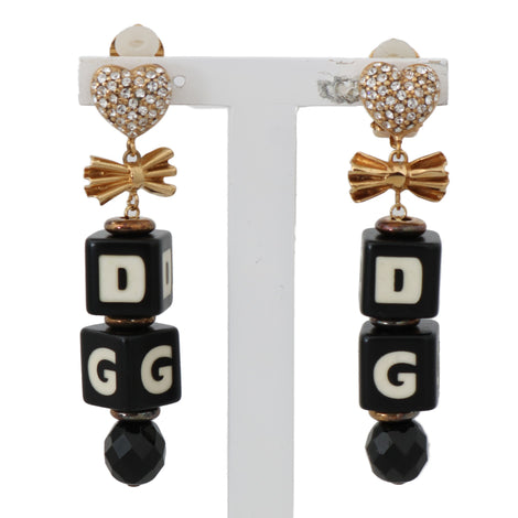 Dolce & Gabbana Gold Clear Crystal DADI Clip On Dangling Drop Earrings