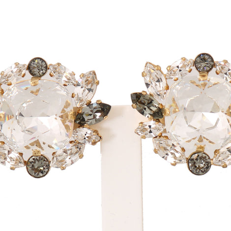 Dolce & Gabbana Gold Brass Crystal Clear Gray FIOCCO Clip Earrings - Women - Jewelry - Earrings - Dolce & Gabbana | Gethuda Fashion