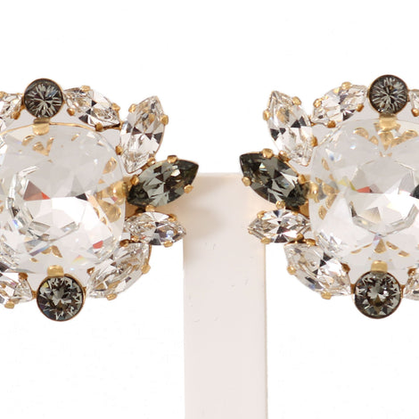 Dolce & Gabbana Gold Brass Crystal Clear Gray NATALE Clip Earrings