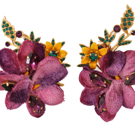 Dolce & Gabbana Gold Crystal Floral Mix Fiori ClipOn Earrings