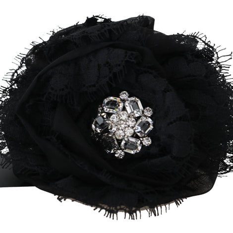 Dolce & Gabbana Black Silk Clear Crystal Lace Hair Claw - Women - Accessories - Hair Accessories - Claws - Dolce & Gabbana | Gethuda Fashion