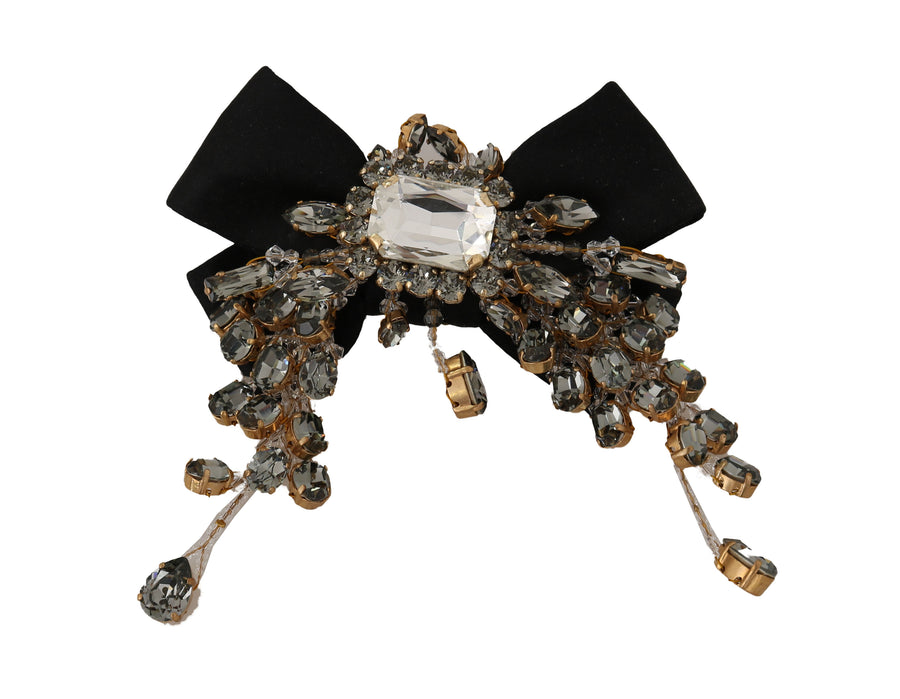 Dolce & Gabbana Black Silk Gold Brass Clear Crystal Clip - Women - Accessories - Hair Accessories - Clips - Dolce & Gabbana | Gethuda Fashion