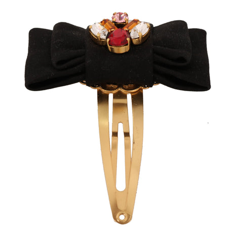 Dolce & Gabbana Gold Brass Crystal Cotton Bow Hair Clip - Women - Accessories - Hair Accessories - Clips - Dolce & Gabbana | Gethuda Fashion