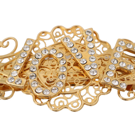 Dolce & Gabbana Gold Brass Clear Crystal LOVE Hair Clip - Women - Accessories - Hair Accessories - Clips - Dolce & Gabbana | Gethuda Fashion