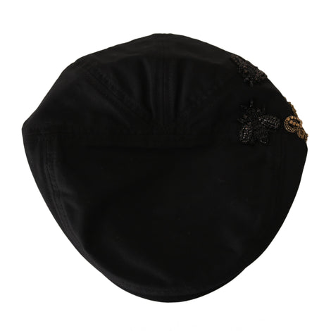 Dolce & Gabbana Black Crystal AMORE Royal Bee Newsboy Hat - Men - Accessories - Hats - Dolce & Gabbana | Gethuda Fashion