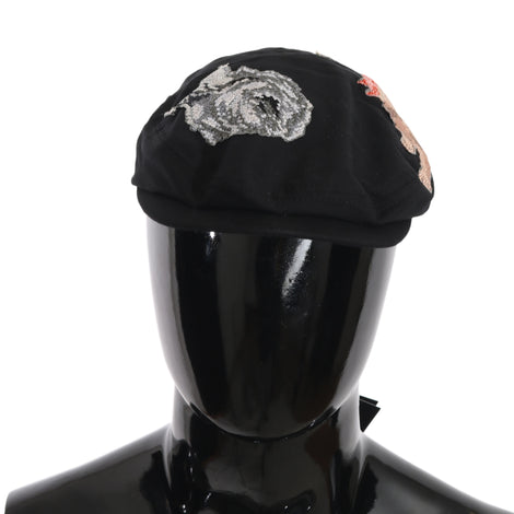 Dolce & Gabbana Black Cotton Angel Flower Newsboy Hat - Men - Accessories - Hats - Dolce & Gabbana | Gethuda Fashion