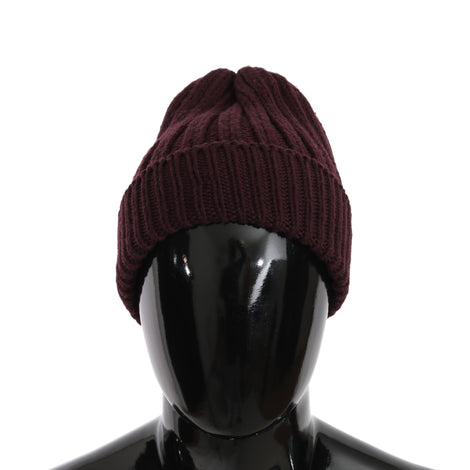 Dolce & Gabbana Beanie Wool Bordeaux Winter Warm Hat - Men - Accessories - Hats - Dolce & Gabbana | Gethuda Fashion