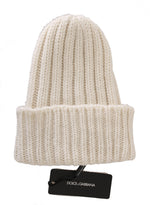 Dolce & Gabbana White Beanie 100% Cashmere Warm Winter Hat - Men - Accessories - Hats - Dolce & Gabbana | Gethuda Fashion