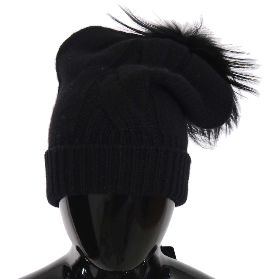 Dolce & Gabbana Black Knit Cashmere Silver Fox Fur Pom Pom Hat - Women - Accessories - Hats - Dolce & Gabbana | Gethuda Fashion