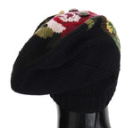 Dolce & Gabbana Black Wool Crystal Studded Knitted Floral Beanie Hat - Women - Accessories - Hats - Dolce & Gabbana | Gethuda Fashion