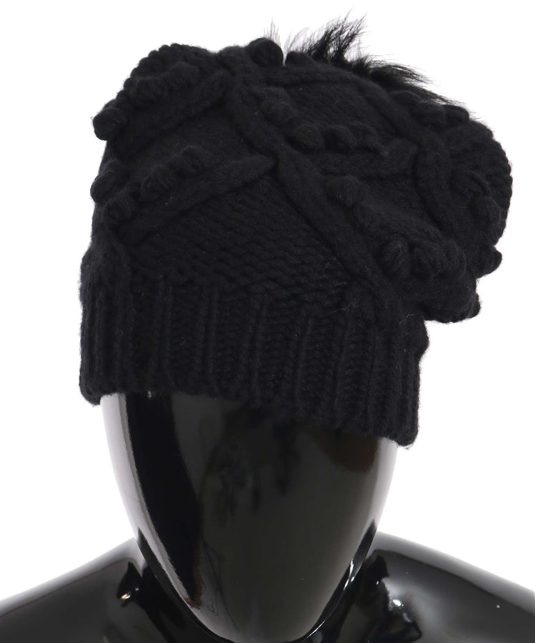 Dolce & Gabbana Black Knitted Cashmere Silver Fox Fur Hat - Women - Accessories - Hats - Dolce & Gabbana | Gethuda Fashion