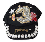 Black Wool Crystal Embellished Studded Baseball Cap - Women - Accessories - Hats - Dolce & Gabbana | Gethuda Fashion