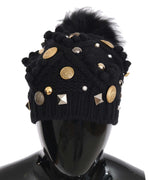 Dolce & Gabbana Black Knitted Cashmere Crystal Studded DG Logo Coins Hat - Women - Accessories - Hats - Dolce & Gabbana | Gethuda Fashion