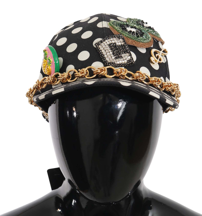 Dolce & Gabbana Black Cotton Crystal Polka Dot Gold Chain Baseball Hat - Women - Accessories - Hats - Dolce & Gabbana | Gethuda Fashion