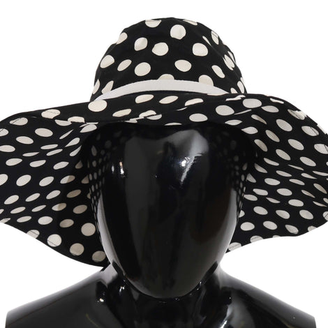 Black Polka Dot Wide Brim Cotton Hat - Women - Accessories - Hats - Dolce & Gabbana | Gethuda Fashion