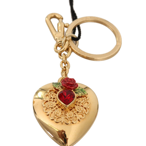 Dolce & Gabbana Gold Heart Brass Red Crystal Rose Keyring Keychain