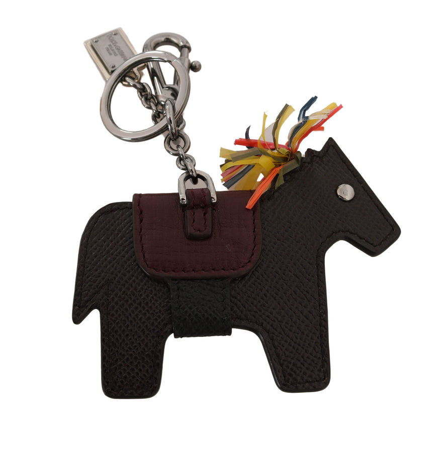 Dolce & Gabbana Brown Horse Pony Studded Keyring Leather Keychain
