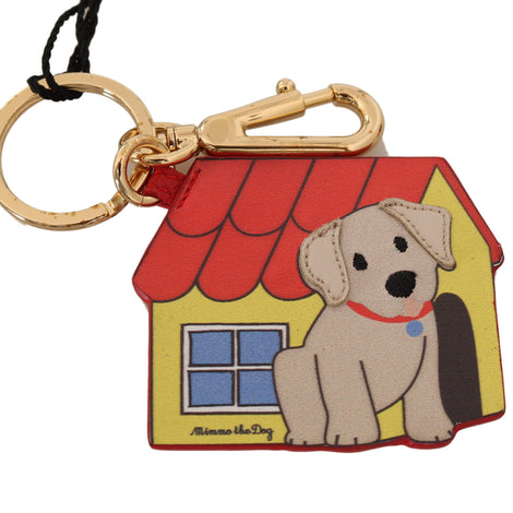 Dolce & Gabbana Gold Leather MIMMO THE DOG Clasp Keyring Keychain