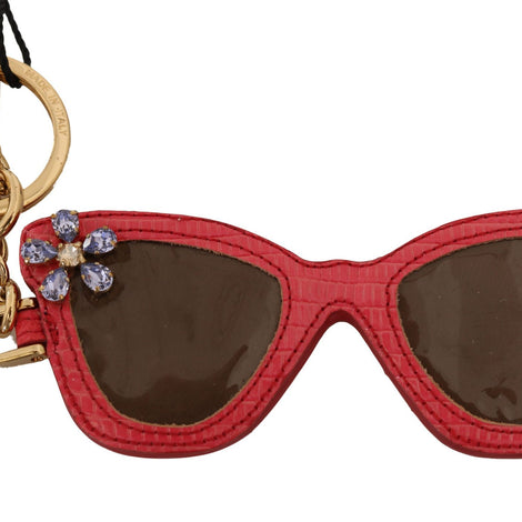 Dolce & Gabbana Red Leather Sunglasses Crystal Clasp Keyring Keychain