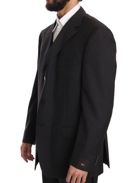 Gray Three Piece 3 Button Wool Striped Suit