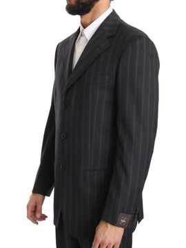 Dark Gray Two Piece 3 Button Wool Striped Suit