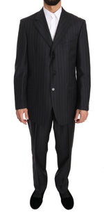 Z ZEGNA Gray Two Piece 3 Button Wool Striped Suit - Men - Apparel - Suits - Classic - Z ZEGNA | Gethuda Fashion