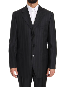 Gray Two Piece 3 Button Wool Striped Suit