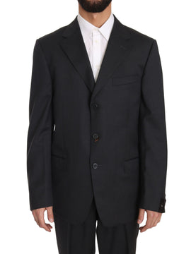 Gray Solid Two Piece 3 Button Wool Suit