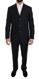 Black Stripe Two Piece 3 Button Wool Suit