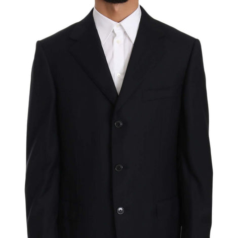 Ermenegildo Zegna Black Stripe Two Piece 3 Button Wool Suit - Men - Apparel - Suits - Classic - Ermenegildo Zegna | Gethuda Fashion