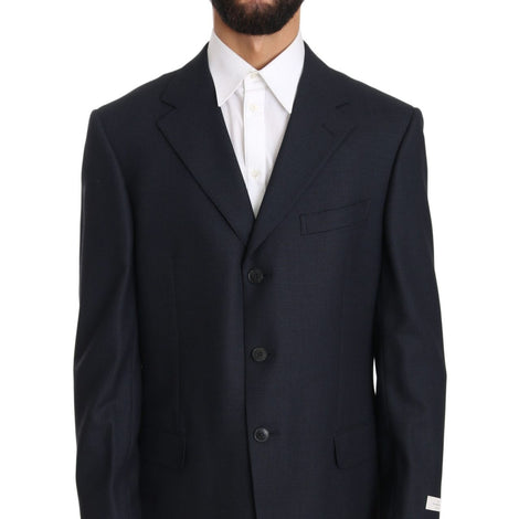 Ermenegildo Zegna Blue Solid 2 Piece 3 Button Wool Suit - Men - Apparel - Suits - Classic - Ermenegildo Zegna | Gethuda Fashion