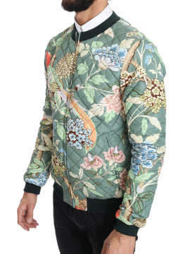 Dolce & Gabbana Green Quilted Reversible Bomber Jacket